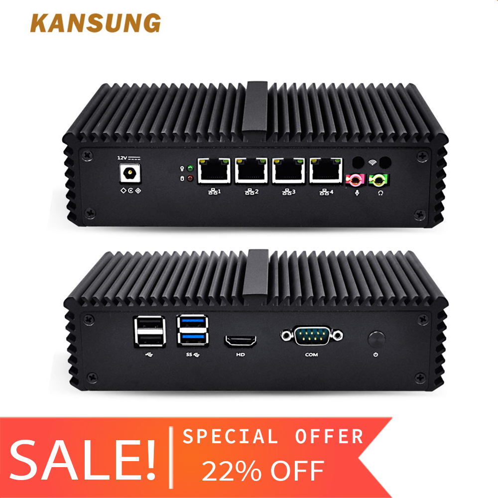KANSUNG Core i5-4200Y AES-NI Minipc Nettop Thin Client 4 Lan Ordinateur Lüfterlose Firewall Windows 10 Pfsense Mini PC