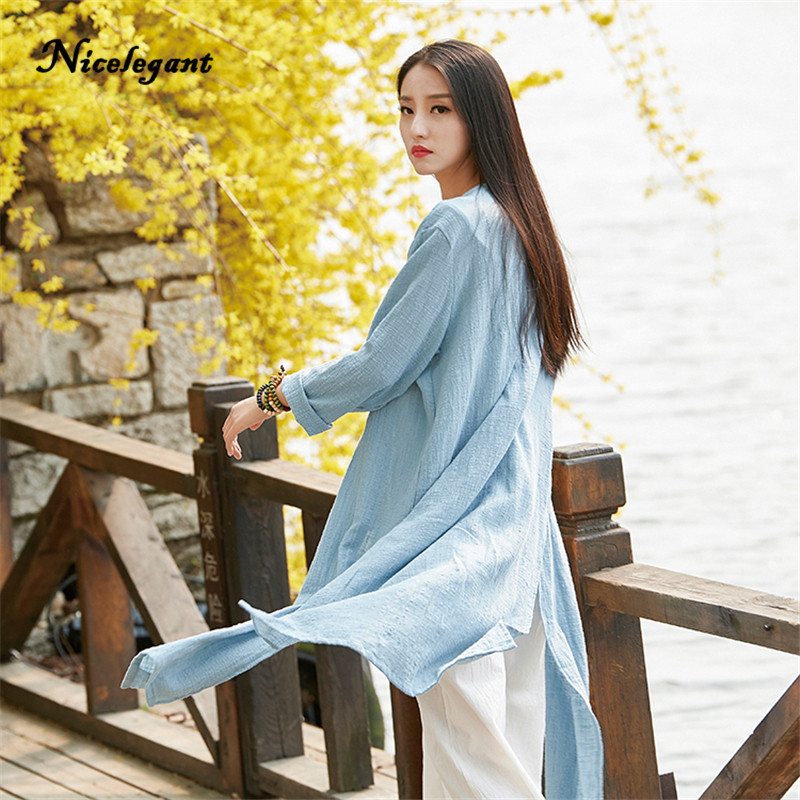 2019 New Brand Original   Trench   Women Coat Chinese Style Cotton Linen Long Sleeve Summer Autumn Thin Casual Solid Coat Split