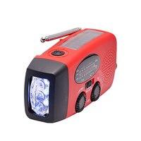 New Protable Solar Radio Hand Crank Self Powered Phone Charger 3 LED Flashlight AM FM WB