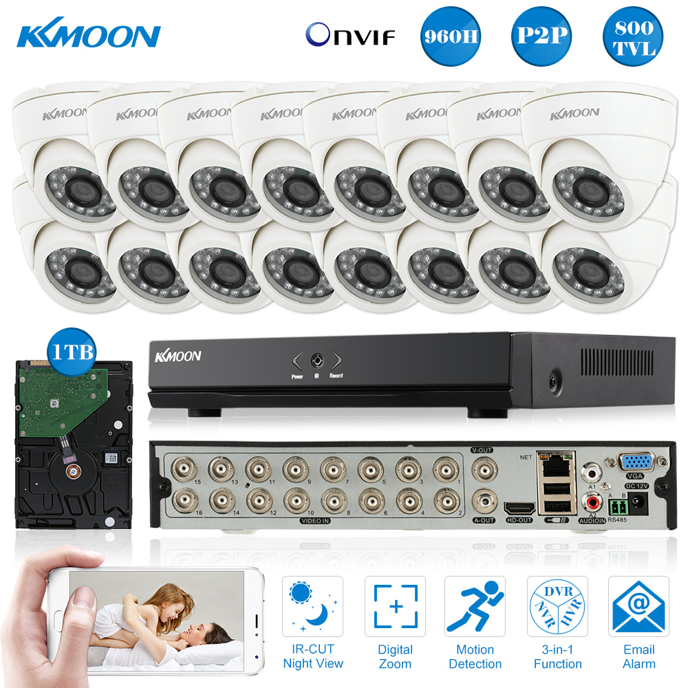 KKmoon 800TVL CCTV Security Camera System Full 960H/D1 16CH DVR Kit HDMI P2P Onvif DVR 1TB HDD 16*Indoor Dome Infrared IR Camera