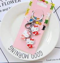 61bf57ab6 New 10set cartoon red Hello kitty fruit wooden pendant Keychain Key ring  kids toy gifts K-04