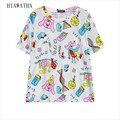 Hiawatha Mulheres Letras Camisetas Moda Harajuku Caractere Impresso T Camisas Casual Solto Tops de Manga Curta T Colorido T3031