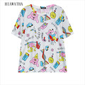 Hiawatha Women Letters T-shirts Fashion Harajuku Character Printed T Shirts Casual Loose Tops Short Sleeve Colorful Tees T3031