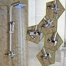 Bathroom 8 Square Rain Led Light Shower head Bath Shower Faucet Set Wall mounted single Lever