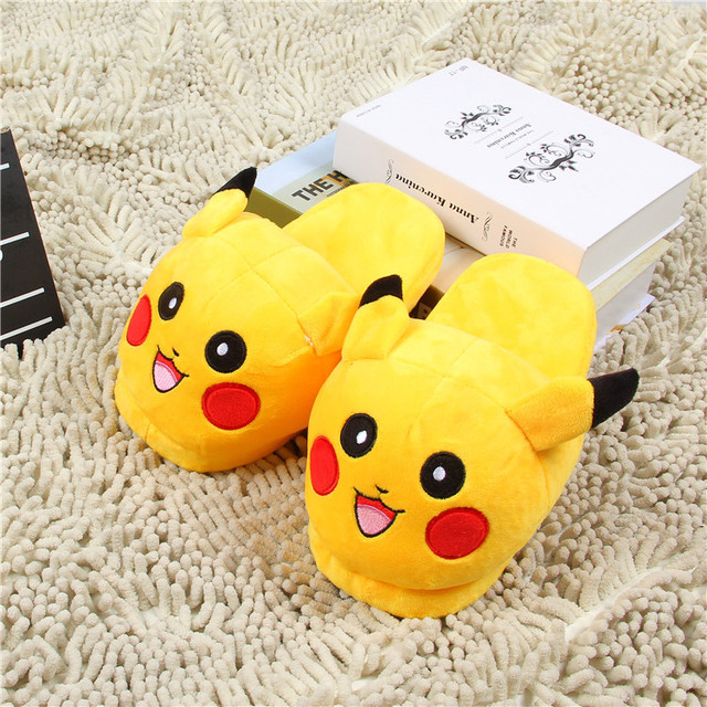 Women Anime Cartoon Pokemon Slippers Lovers Warm Woman Slippers Elf Ball Pikachu Go Plush Shoes Home House Slippers Children 3