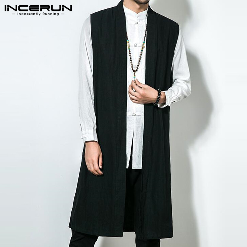 5XL Mens Long   Trench   Sleeveless Front Open Casual Solid Loose Retro Chinese Cotton Linen Vintage 2019 Autumn Male Jackets Coats