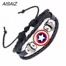 2019 NEW America Super Hero Superheroes Batman Spider-Man Iron Man Superman Logo Leather Bracelet Boys Glass Cabochon Bracelet(China)
