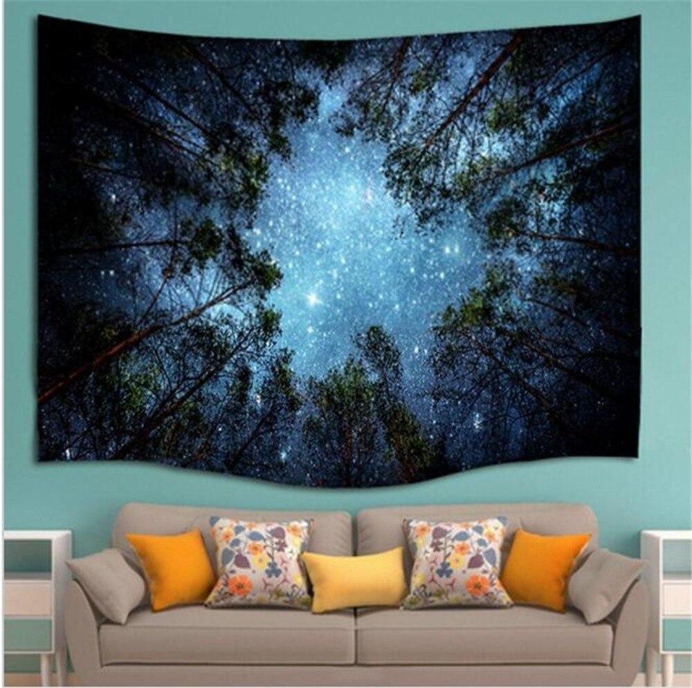 Schöne Nacht Sky Wandteppich Hause Dekorationen Wand Hängen Wald Starry Nacht Teppiche Für Wohnzimmer Schlafzimmer