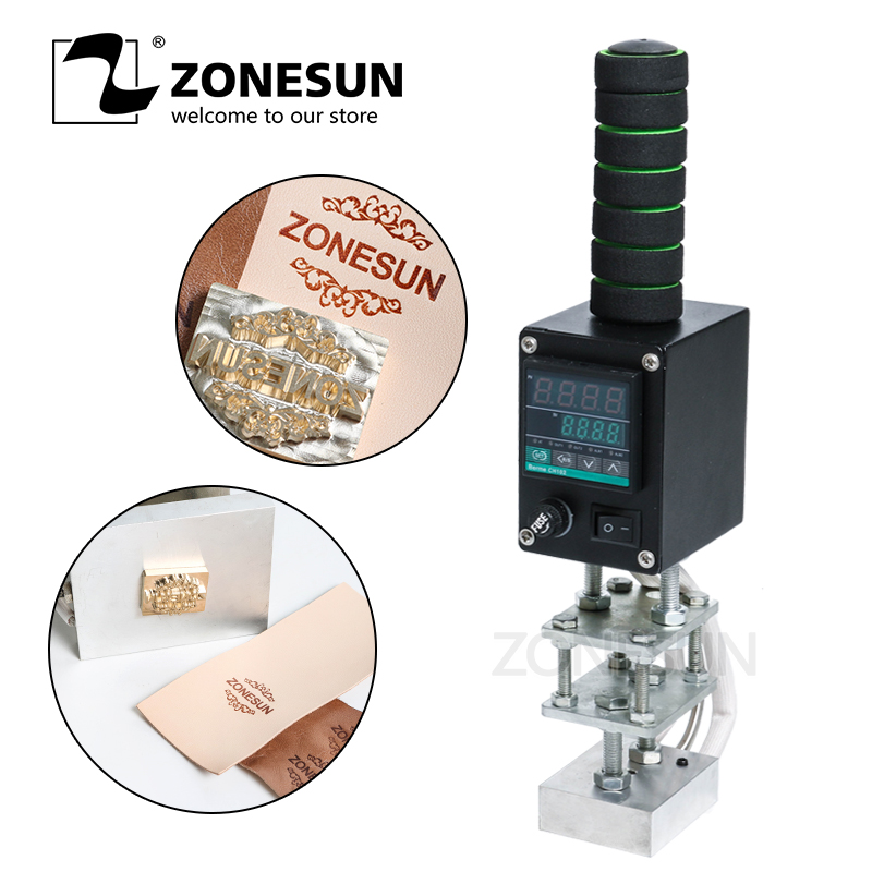 цена ZONESUN 5*7cm Handheld leather embosser wood hot stamping machine leather embossing tool manual logo embosser wood branding iron