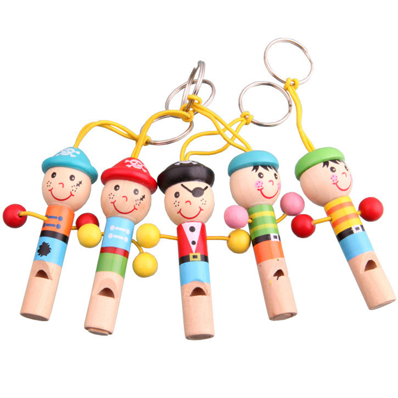 Mini Wooden Pirate Whistle Musical Cute Doll Keychain Colorful Developmental Educational Good Funny Toys For Baby Gift