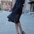 Вери güde летний стиль длинные юбки для женщин высокой талией прозрачный органзы плиссированные юбки