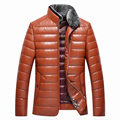 Autumn Winter Men's Jackets Rabbit Fur Collar Male Leather duck Down Jackets Fashion Slim Warm Jackets and Coat OverCoats