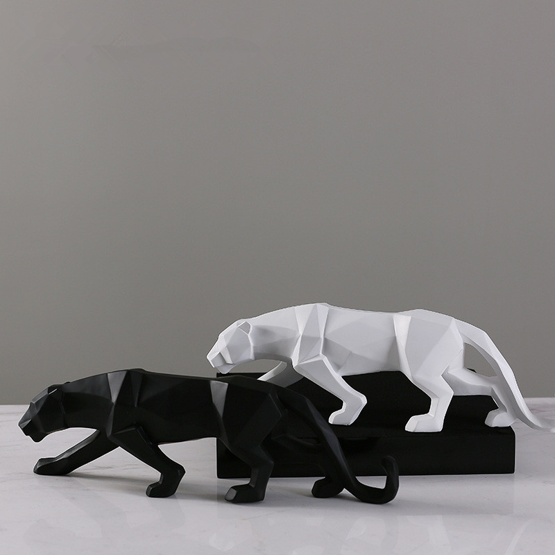 MRZOOT Resin Craft Leopard Statue Black And White Office Ornament Nordic Home Decoration Accessories Sculpture