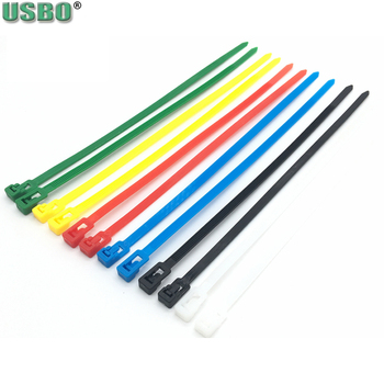 Releasable cable tie wire rope belt black white red yellow blue green repeated use 7.6*350mm plastic nylon unlock cable tie