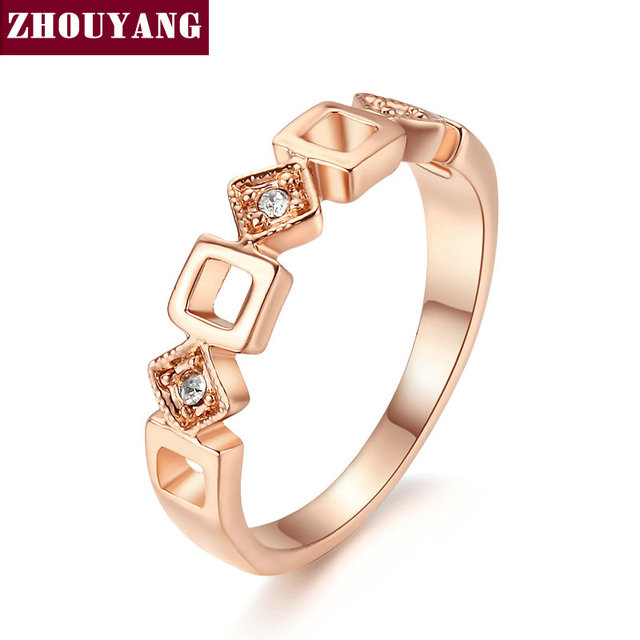 Top Quality ZYR197 Concise Crystal Ring Rose Gold Color Austrian Crystals Full S