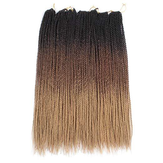 QP Hair Ombre Senegalese Twist Hair Crochet Braids 24 Inch 30 Roots/pack Synthetic Braiding Hair For Women  Black Crotchet Hair