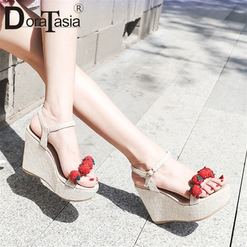 DORATASIA New Big Size 33-40 Sweet Strawberry Ladies Wedges High Heels Shoes Woman Casual Party Sexy Summer Sandals 2019