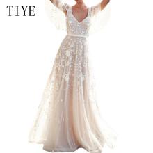 TIYE Women Lace Formal Wedding Bridesmaid Long Party Dress White Amazing Sexy Open Back Floor-length Summer Maxi