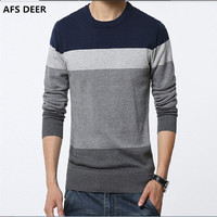 Men S Sweaters 2016 Winter New Men Slim Thick Round Neck Sweater Fashion Stripes Stitching Large