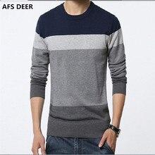 Мужские свитера 2016 зима новый мужчин Slim fit шею свитер Моды полосы сшивание плюс размер мужские теплые рубашки мужчины свитер