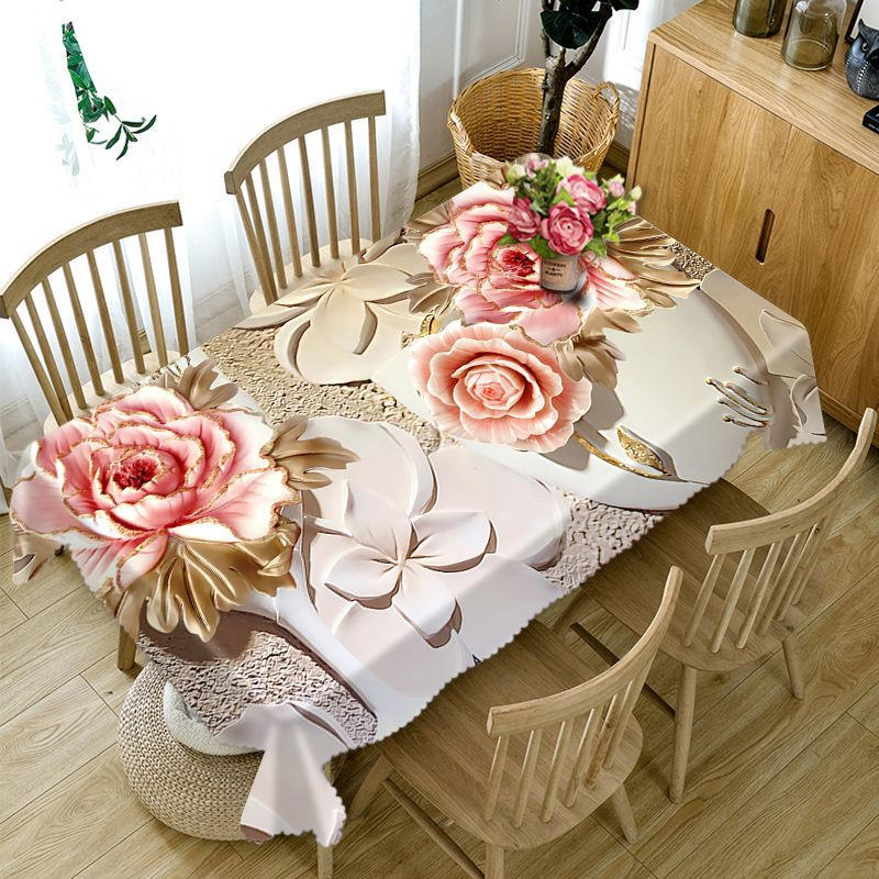 Engraving technology flowers 3D printing Rectangular Tablecloths Polyester Table Cover Modern Brand Customizable Table Cloth image