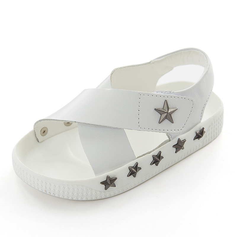font b Kids b font White Sandals with Star Rivets Boys Girls Superstar font b