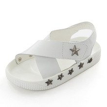 Kids White Sandals with Star Rivets Boys Girls Superstar Shoes Leather Shoes for Summer Solid Color