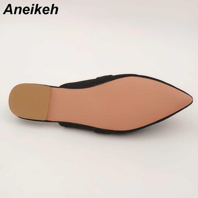 Aneikeh Mùa Hè Đế Bằng Con La Giày Sandal Nữ Dép Rắn Slip On Mũi Nhọn Nữ Con La Ngoài Trời PINSV Người Phụ Nữ Trượt