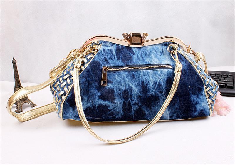 Image 4 - Fashion Women Handbag Chic Denim Fireworks Rhinestones Top Handle  Butterfly Decoration Patchwork Ladies Shoulder Bag ClutchTop-Handle  Bags