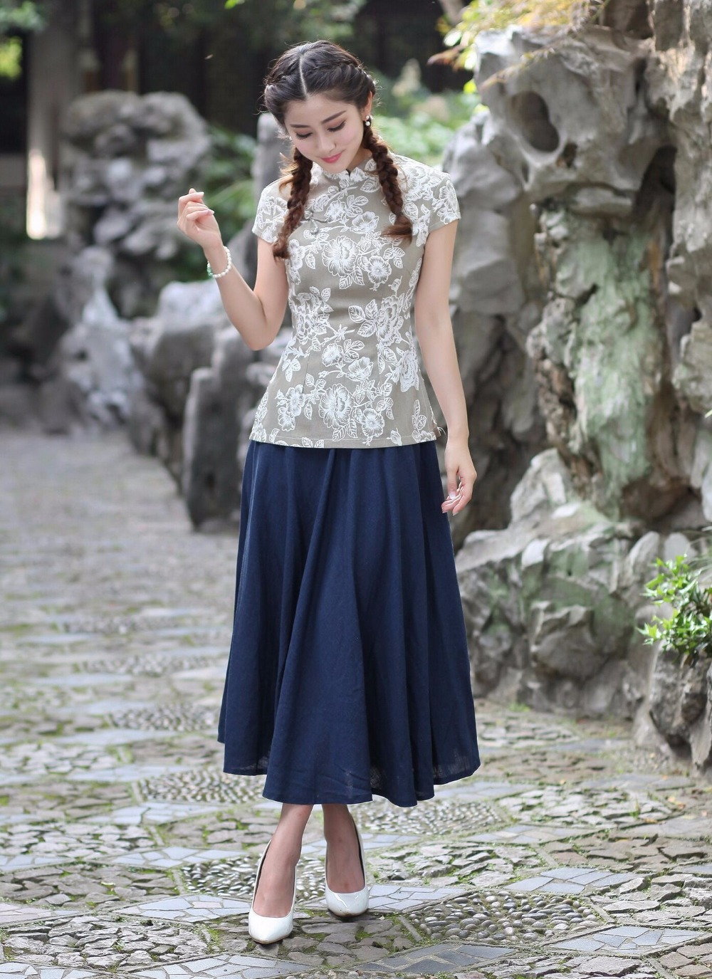 style Xxl Di Camicia 3 Primavera Lino Cotone Donne Vestito 2018 4 Fiori Abbigliamento Del Moda Linguetta 3 Xl M Cinese S 2 Gonne L Set style 3xl Style 1 2518 Delle style 0nAwwqRx