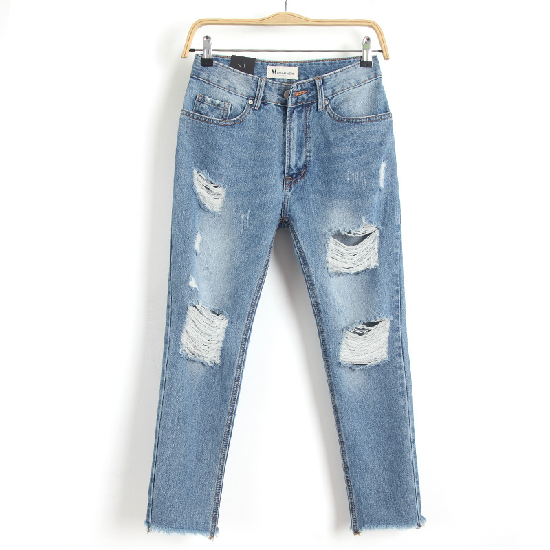 Spring New Fashion Cotton Jeans Women Loose High Waist Washed Vintage Big Hole Ripped Ankle Length Denim Straight Pants MZ1535 lace embroidery jeans ripped hole straight harem pants women ankle length pants fashion high waist loose plus size pencil pants