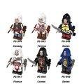 6 assassins Creed Pçs/set modelos de blocos de construção de super heróis marvel brinquedos armas legoinglys original acessórios lepin PG8020