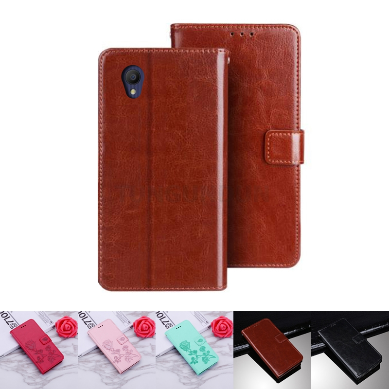 Alcatel 1 5033D Case Protection Stand Style PU Leather Flip Silicone Back Cover For Alcatel 1 5033 D Mobile Phone Wallet Capa(China)