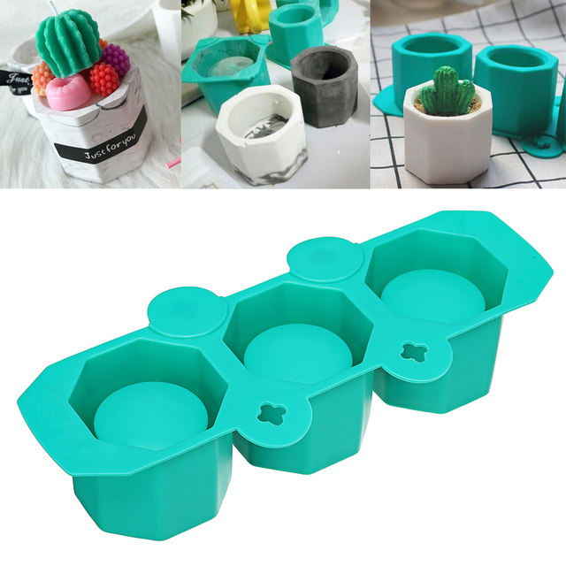 Silicone Mold DIY Homemade Soap Candle Mould Cement Flowerpot Mold Ceramic Clay Craft Casting Concrete Bonsai