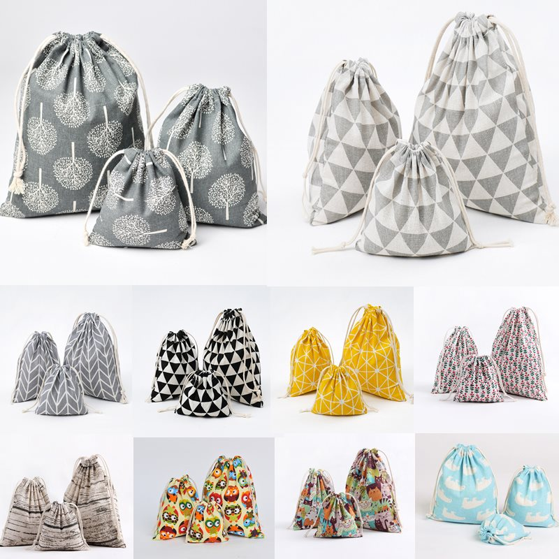 1pcs Wood Grain Drawstring Cotton Linen Storage Bag Gift