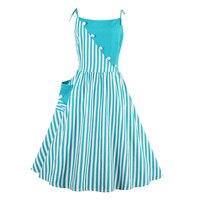 Sisjuly Vintage Turquoise Knee Length Sleeveless Strapless Dress 2017 Striped Summer Female Party Dress Spaghetti Strap