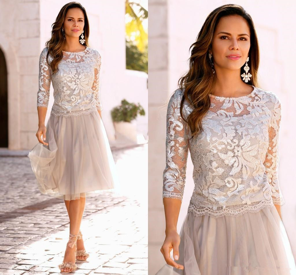 2019 Newest Short Mother Of The Bride Dresses Lace Tulle Knee Length 3/4 Long Sleeves Mother Bride Dresses Short Prom Dresses