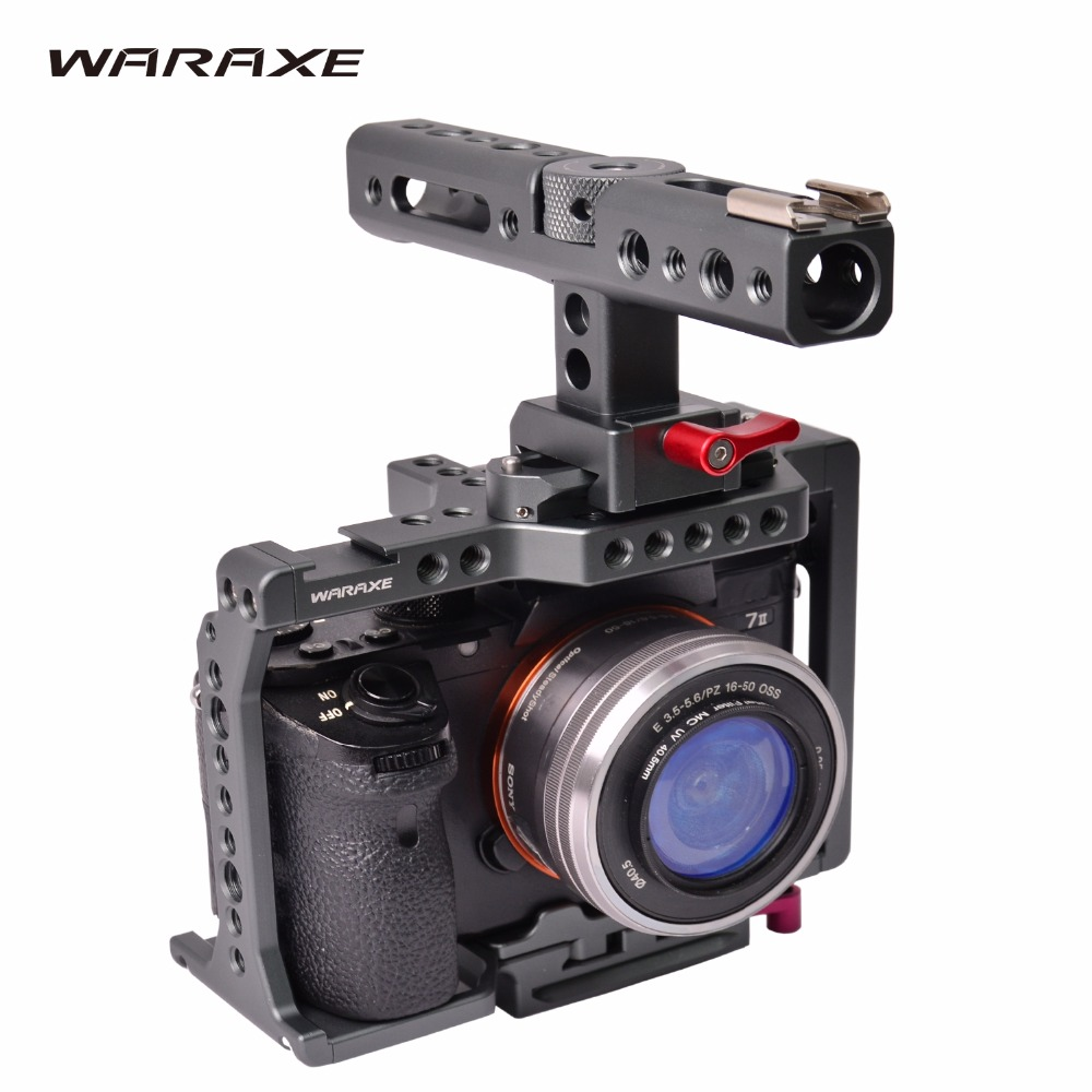 WARAXE A7 Camera Cage Built in Quick Release Fits Arca Swiss for Sony A7 A7R A7S
