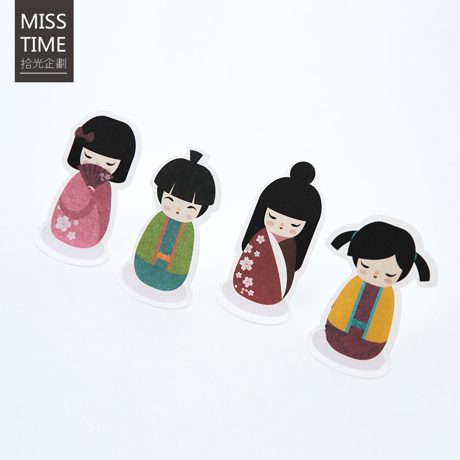30Pcs/Pack Cute Japanese Girl Doll Post It N Times Irregular Memo Pad Notebook Student Sticky School Label Gift M0165