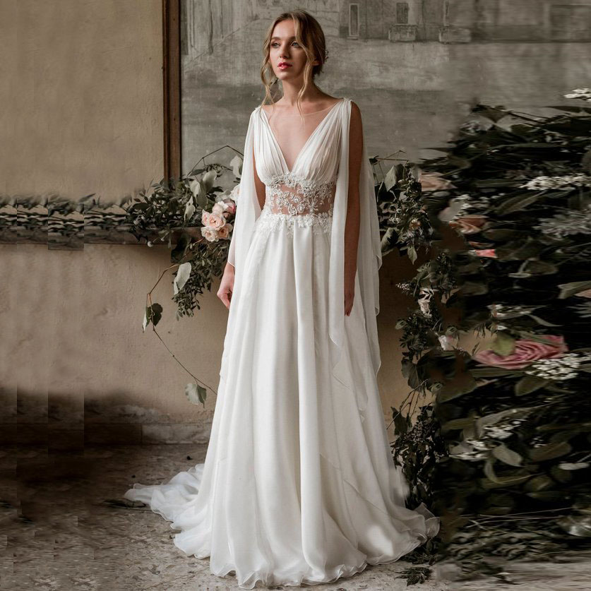Beach Wedding Dress 2020 Cap Sleeve A-Line Chiffon Appliques Sheer Neck Lace Boho Bride Dress Wedding Gown Robe De Mariee