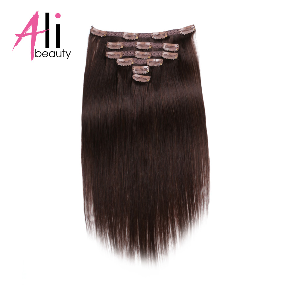 ALI BEAUTY 2# Color Peruvian Straight Hair 14 Inches 70g 6 Piece/set Clip In Hair Extensions 100% Remy Human Hair