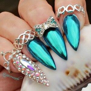 Image 3 - 1g Spiegel Glitter Nagel Chrom Pigment Shell Dazzling DIY Salon Micro Holographische Pulver Laser Nail art Dekorationen Maniküre