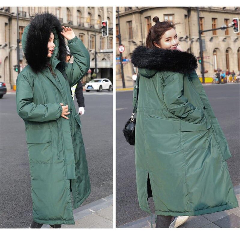 2019 hiver nouveau Style coréen longue Parka veste mode vers le bas vêtements d'extérieur en coton Slim femmes à capuche col de fourrure épaissir pardessus f1351