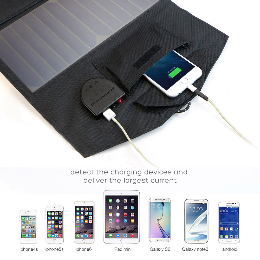 5V 12V 18V 21W Multi functional Solar Panel Charger for iPhone 6 6s 7 8 iPhone 10 iPhone X iPad Samsung Dell HP Acer Car Battery in Solar Cells from Consumer Electronics