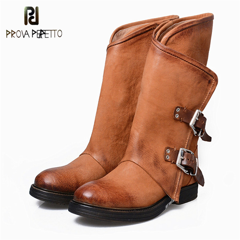 Prova Perfetto 2018 Luxury Genuine Leather Low Heel Mid Boots Round Toe Thick Heel Comfortable Martin Boots Large size Keep Warm prova perfetto red color punk style genuine leather thick bottom woman mid boots solid round toe low heel rivet martin boots
