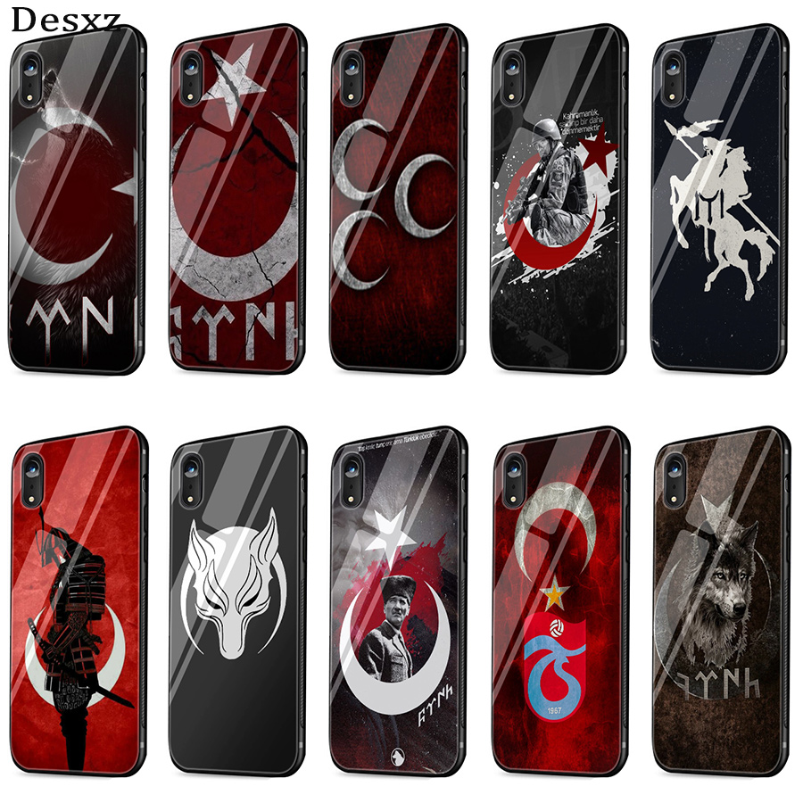 Desxz Flag Of Turkey <font><b>Istanbul</b></font> Antalya Mustafa Galatasaray Wolf Case Glass For iPhone 5 5s SE 6 6s 7 8 Plus X XS Max XR Cover image