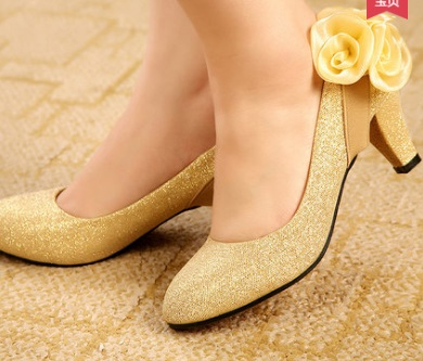 Women wedding shoes with rose flower med high heel pumps for party pointed toe stiletto zapatos yellow red plus size 11 10 39