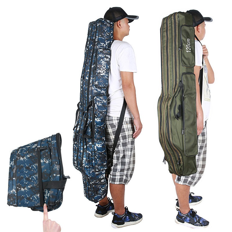 Foldable Fishing Rod Bag Carrier Gear Packages Fish Pole Tools Storage Bag Case Portable Two/three Layer Backpack For Outdoor