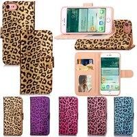 For Iphone 7 Plus Leather Case Leopard Print Card Money Luxury Smart Handbag Soft Flip Cover