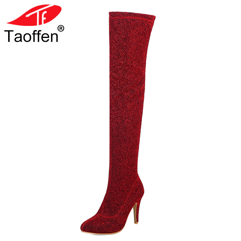 TAOFFEN 2018 Plus Size 32-48 Shoes Women Super High Heels Party Elastic Boots Woman Shoes Sexy Pointed Toe Over The Knee Boots women shoes scarpe donna elastic boots botines mujer sapato feminino round toe chaussure femme schoenen vrouw over knee boots